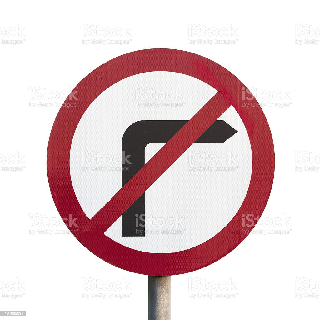 No Right Turn Sign isolated on white stock photo