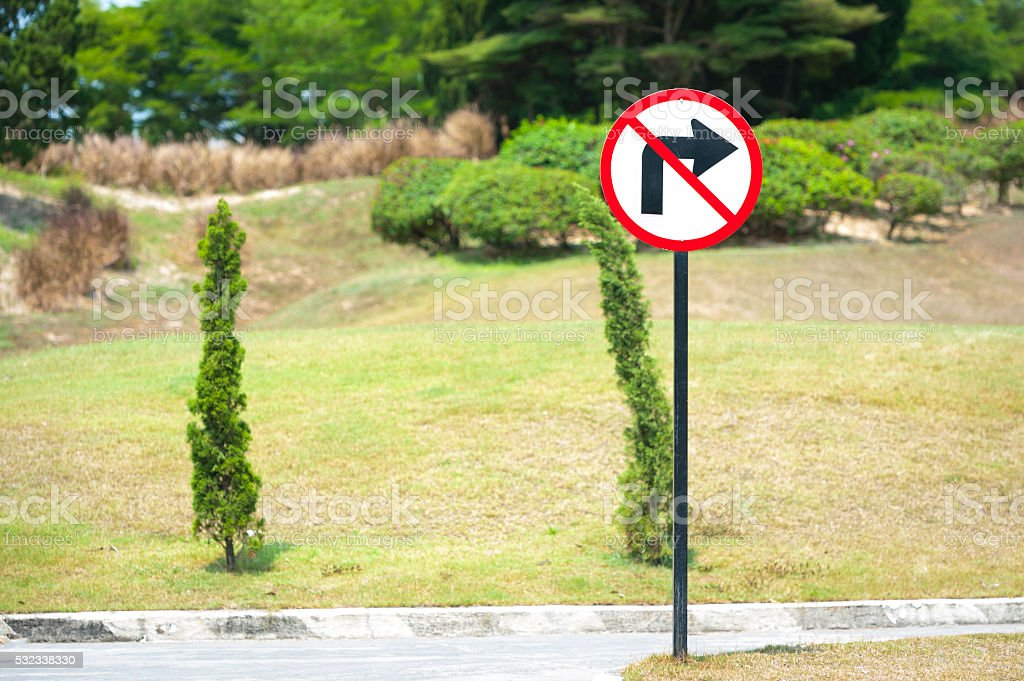 No Right Turn Sign stock photo