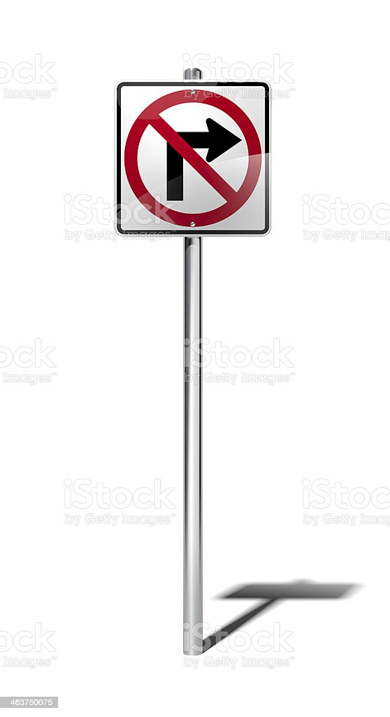 No right turn sign (USA) with clipping path stock photo