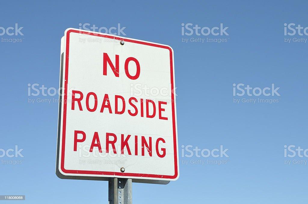 No Roadside Parking Sign stock photo