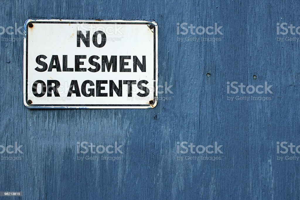 No Salesmen or Agents stock photo