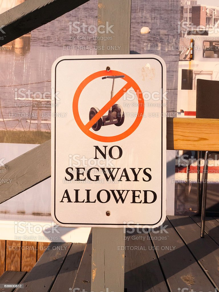 No Segways Allowed sign stock photo