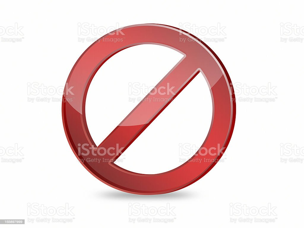 No sign red color 3D on white isolated background stock photo