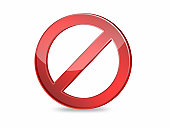 No sign red color 3D on white isolated background