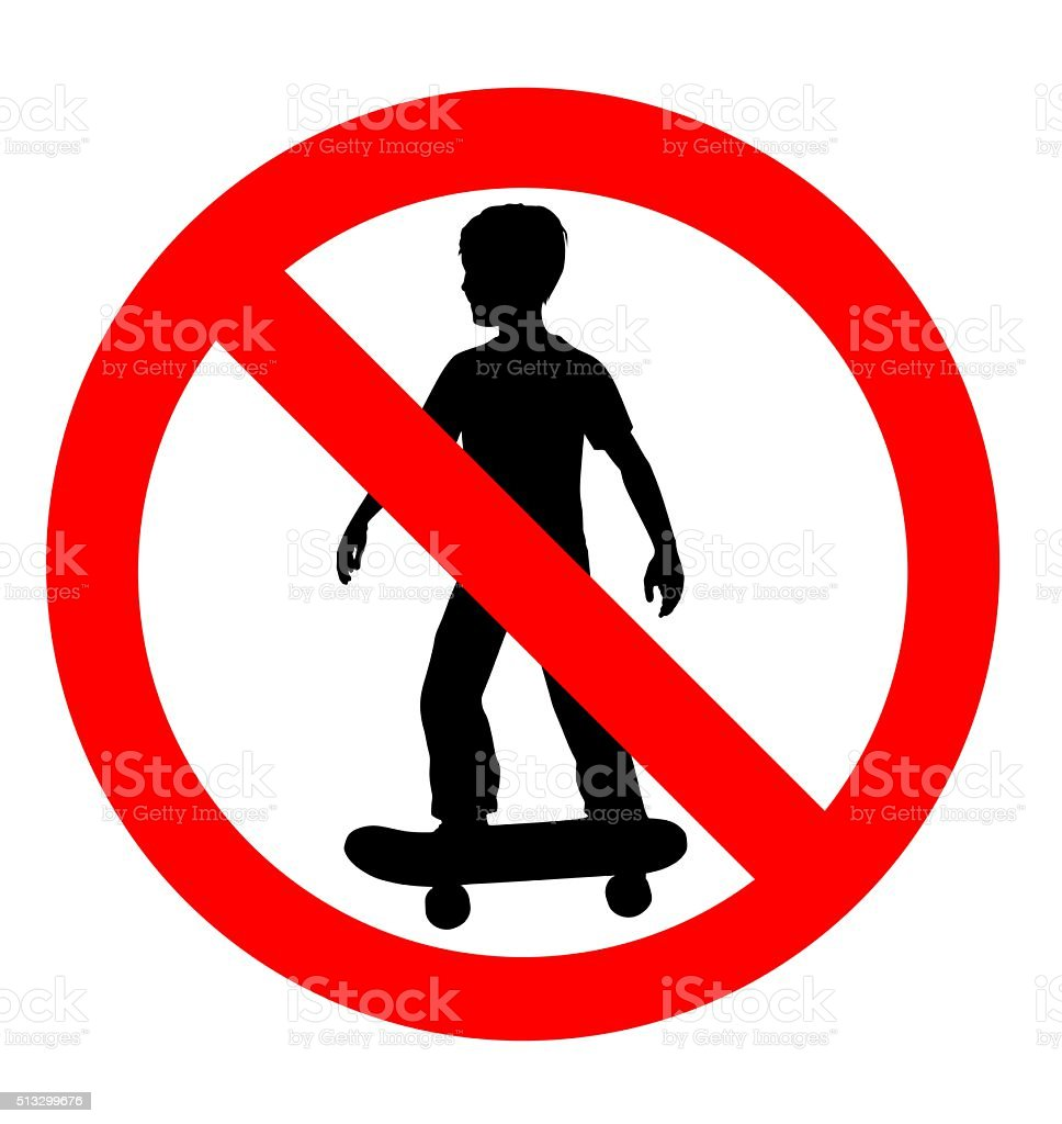 no skateboarding allowed sign stock photo