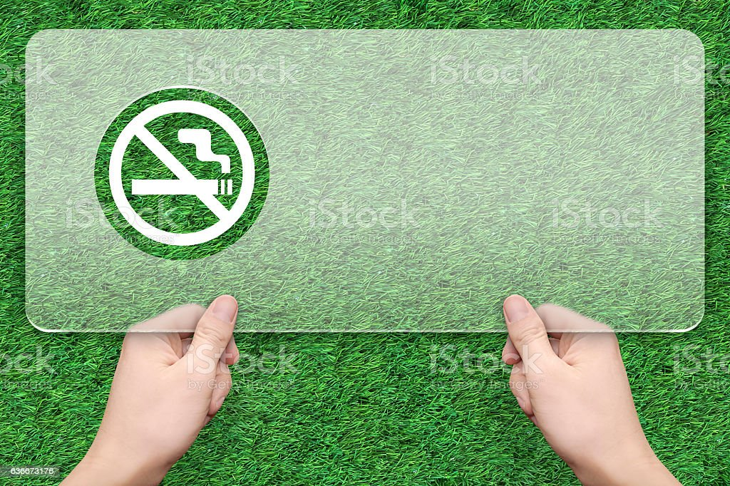 No smoke message box with green grass background stock photo