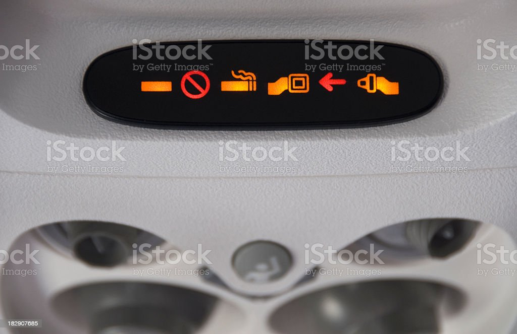 No Smoking and Fasten Seat Belt Sign stock photo