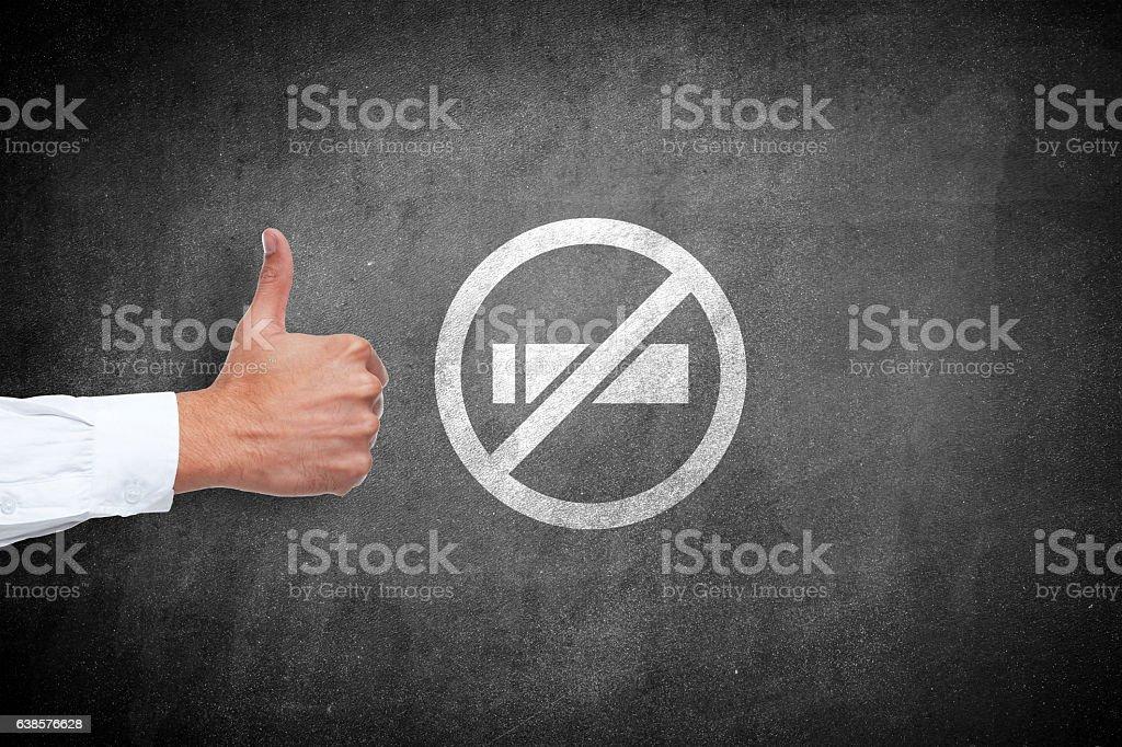 No smoking and thumbs up sign stock photo