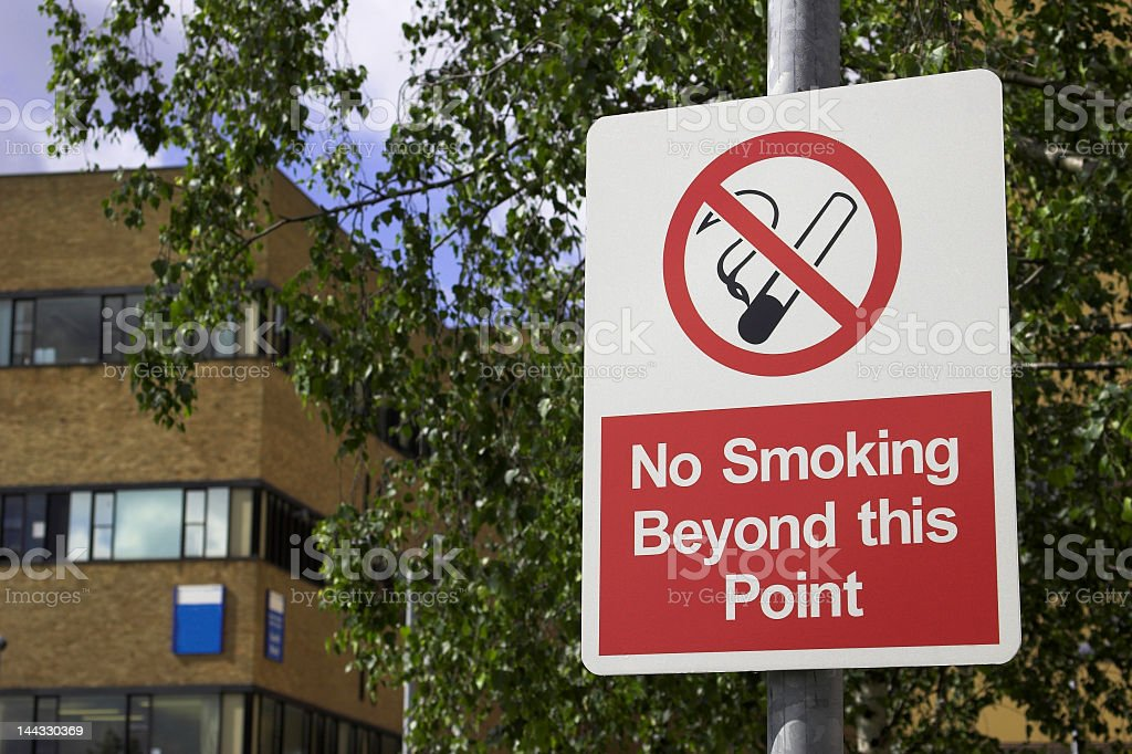 No smoking beyond this point sign stock photo