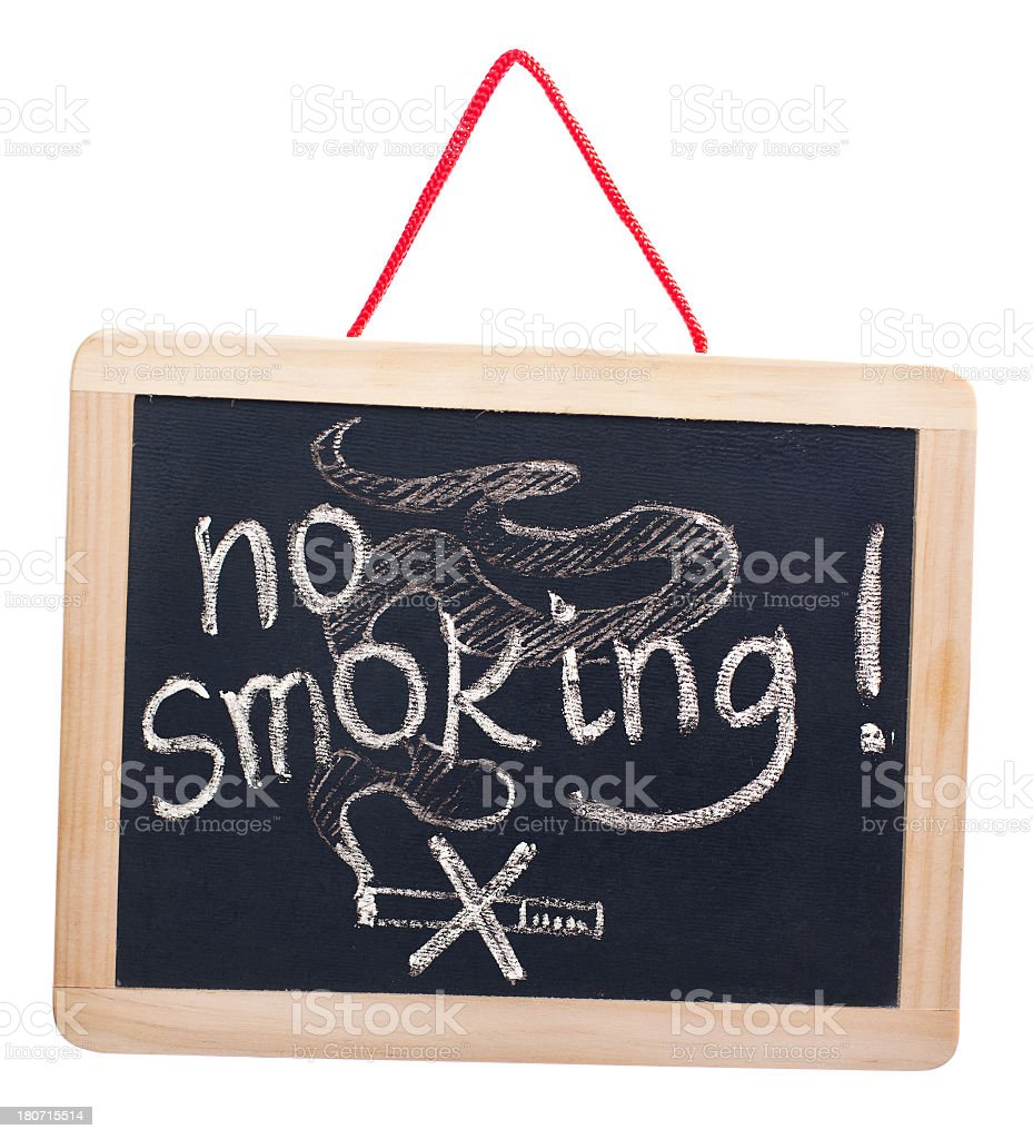 No smoking on blackboard royalty-free stock photo