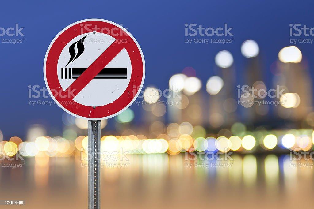 No smoking sign at nightlife city stock photo