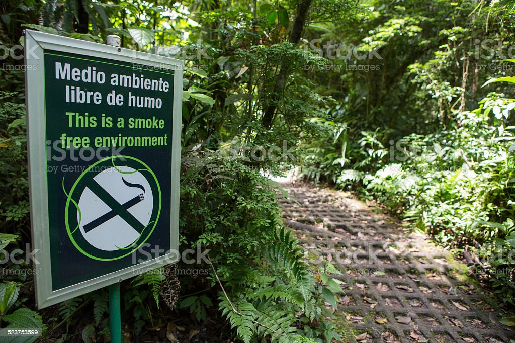 No smoking sign in the forest, Costa Rica stock photo