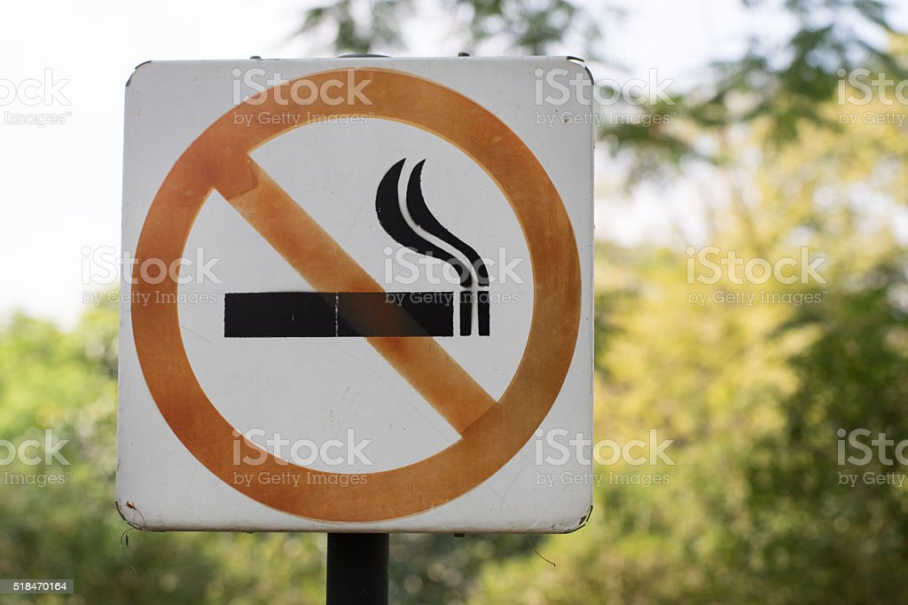 No smoking Sign in the Park stock photo