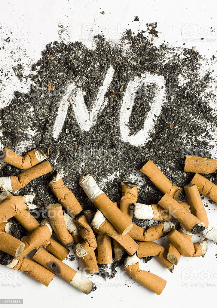 No smoking sign made of cigarette butts and ash royalty-free stock photo
