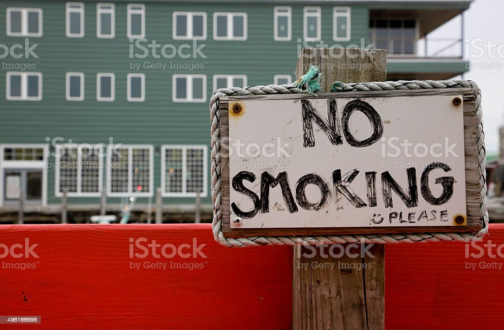 No smoking sign on the ocean walk in Portland stock photo