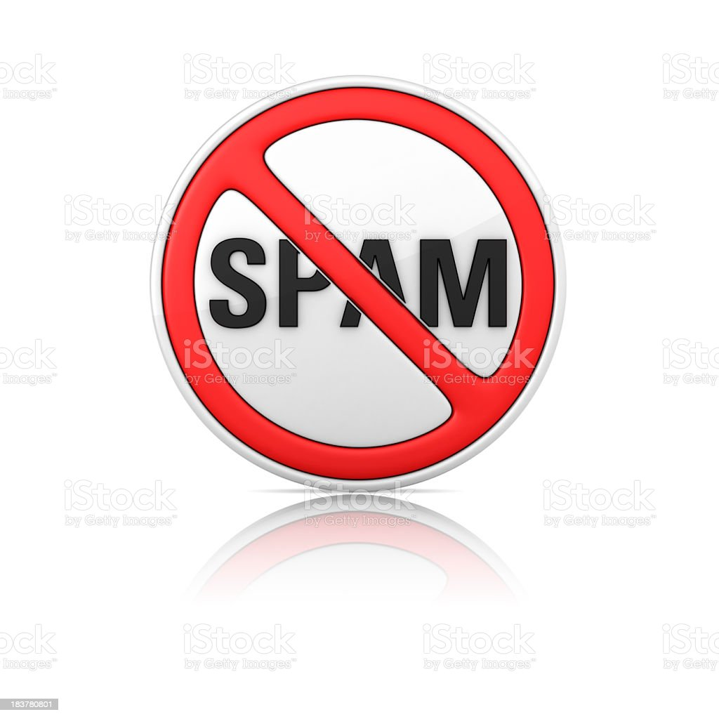 No SPAM Warning Sign royalty-free stock photo