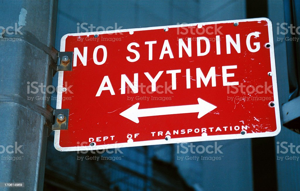 No standing anytime transportation sign stock photo