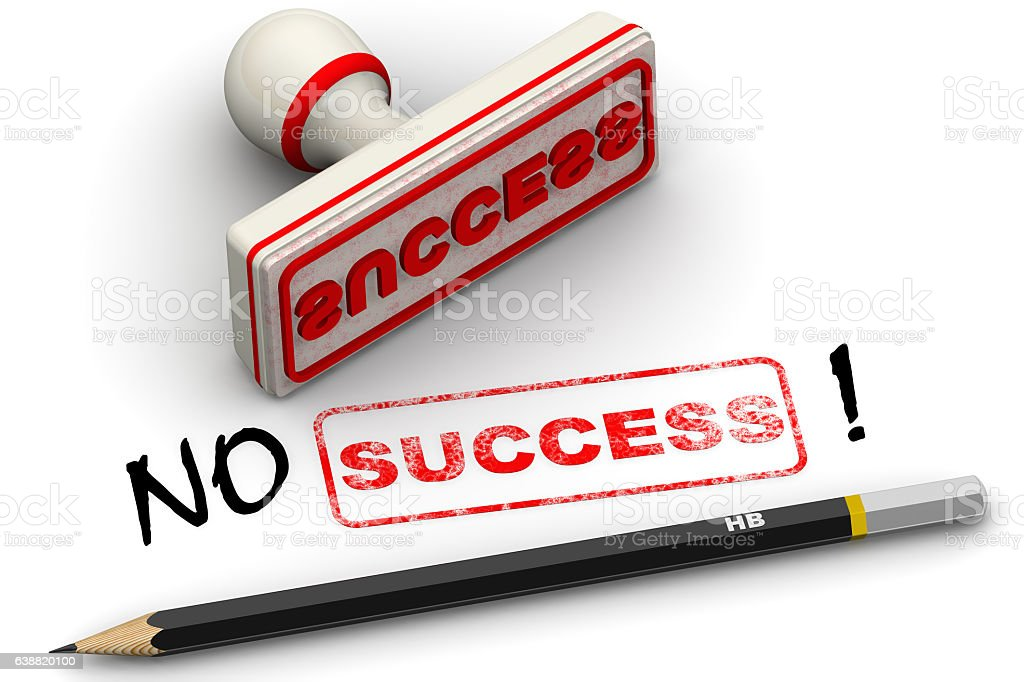 No success! Corrected seal impression stock photo
