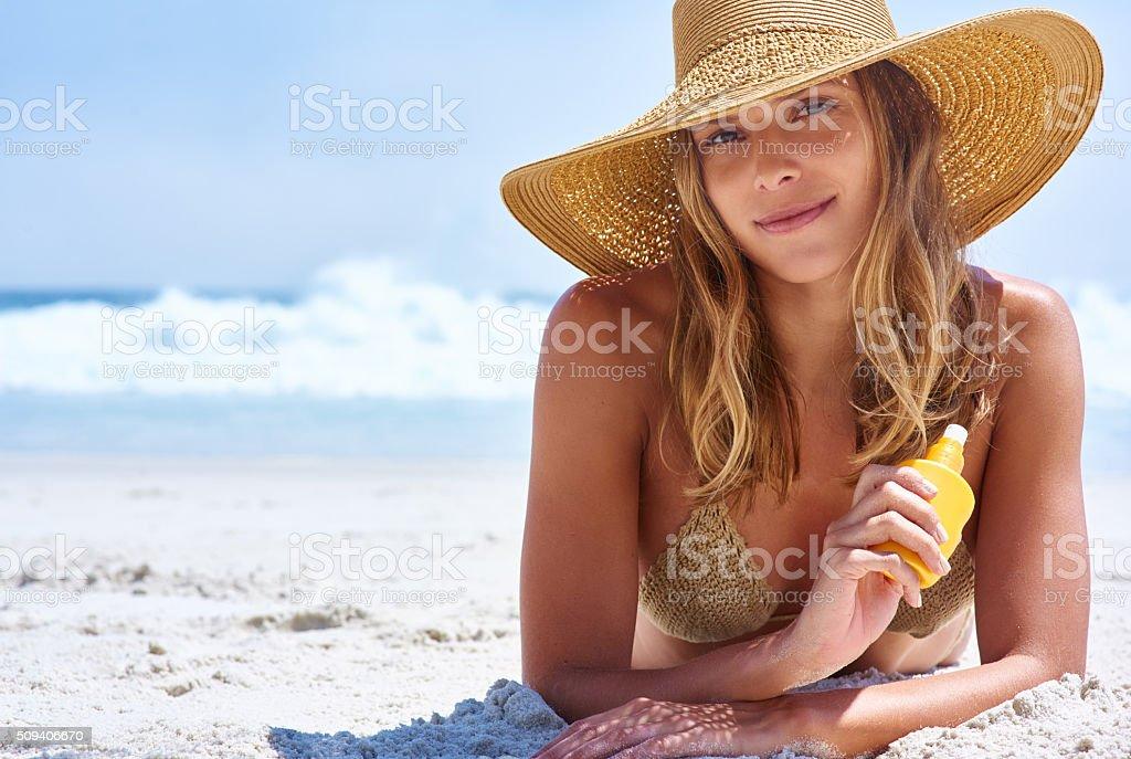 No sunburn here stock photo