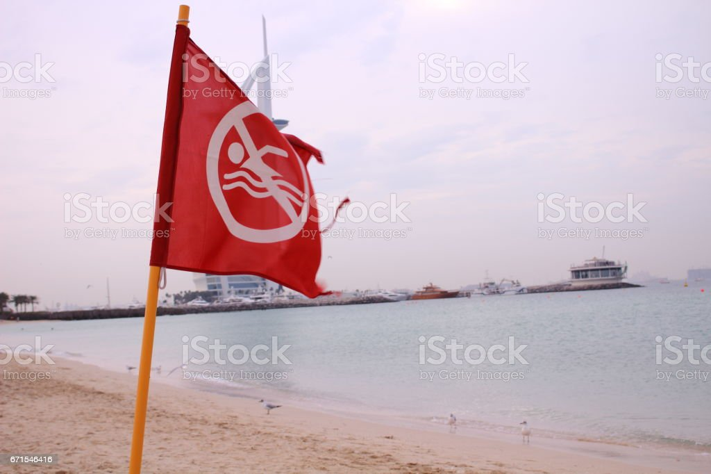 No swimming flag stock photo