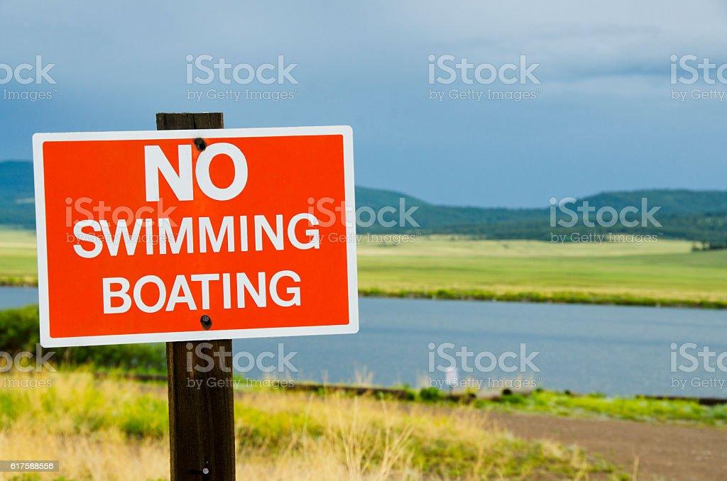 No Swimming or Boating Sign at Lake stock photo