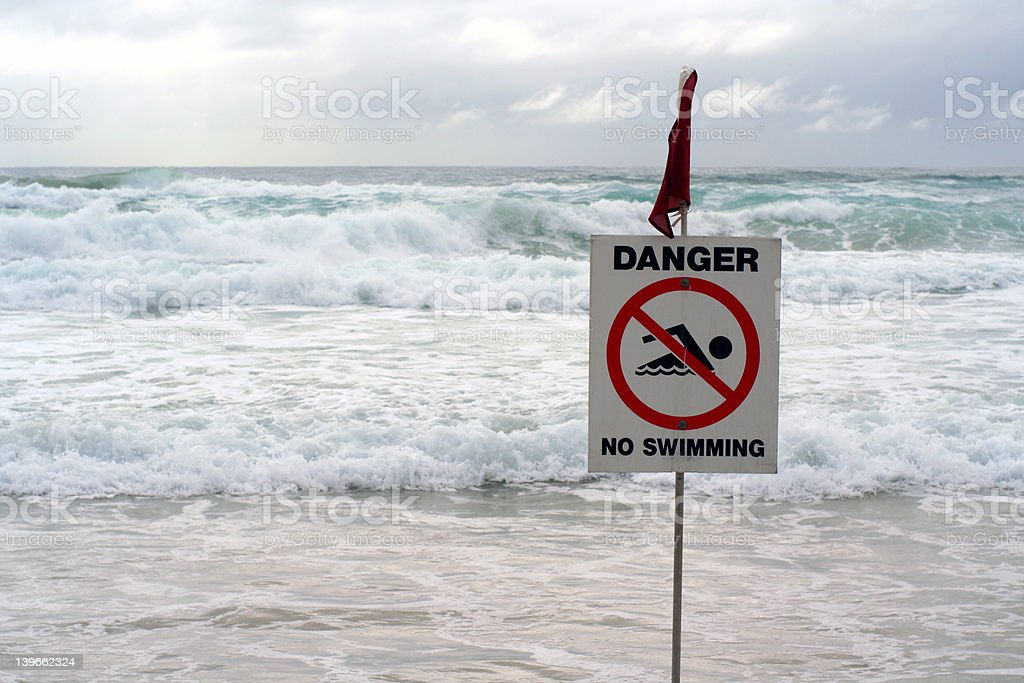 DANGER! no swimming royalty-free stock photo