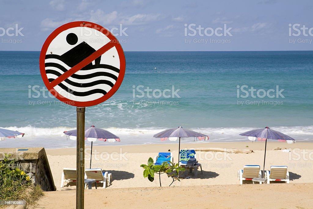 No swimming sign at beach royalty-free stock photo