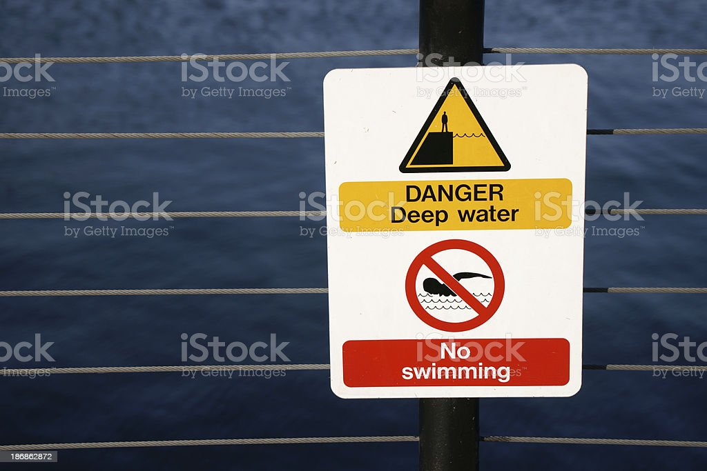No swimming sign on fence against dark water royalty-free stock photo