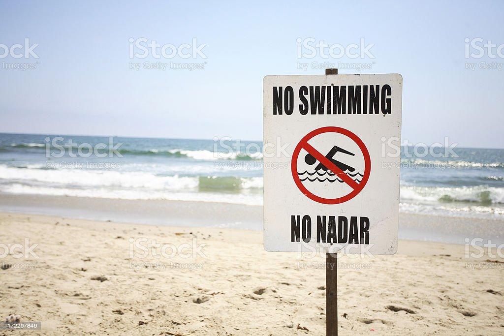 No Swimming Sign on Santa Monica Beach royalty-free stock photo