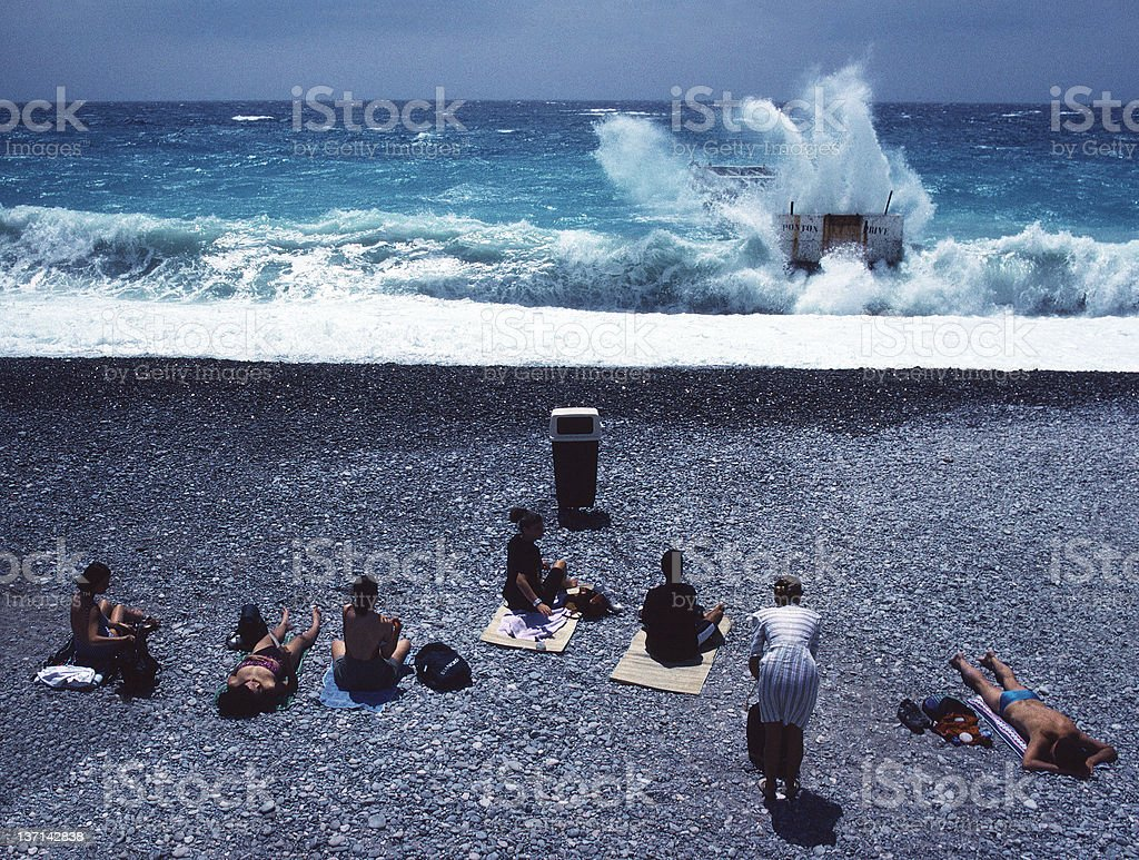 No Swimming Today, Nice, France royalty-free stock photo