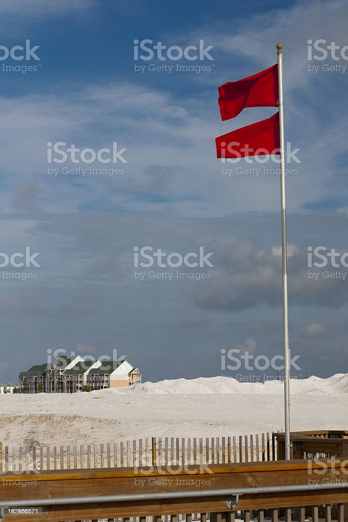 No Swimming - Two red flags stock photo