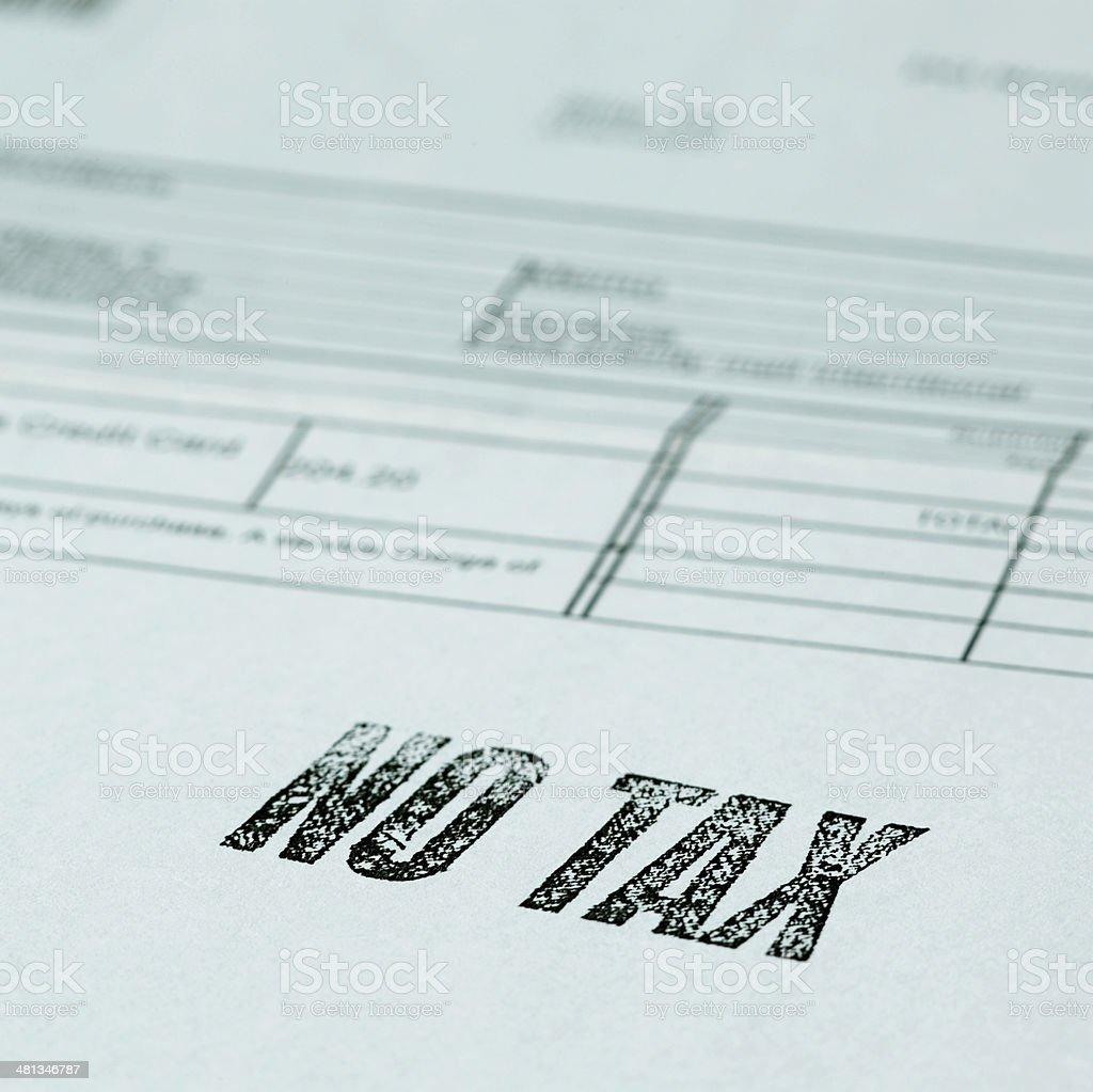 No Tax stamp stock photo