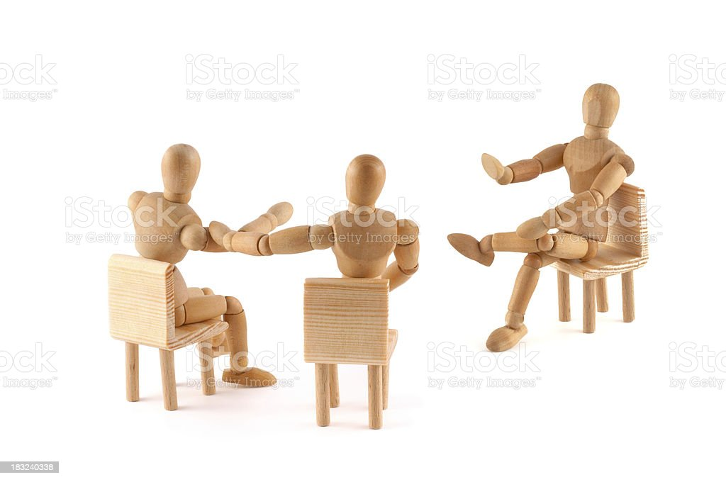 No! This argument is not correct -wooden mannequins in discussion stock photo