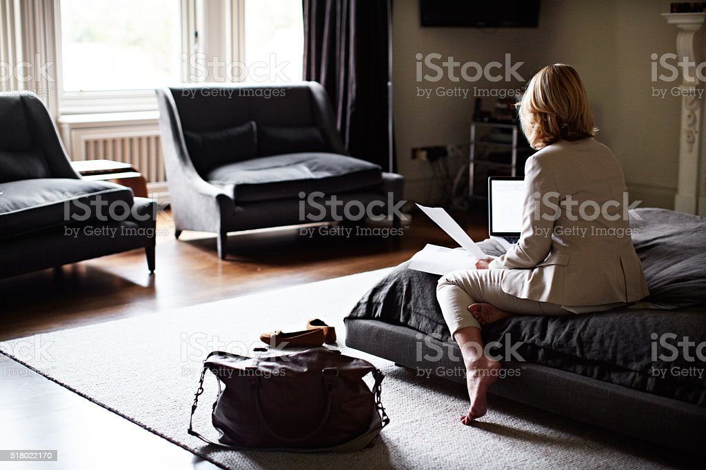 No time to unpack before work begins stock photo