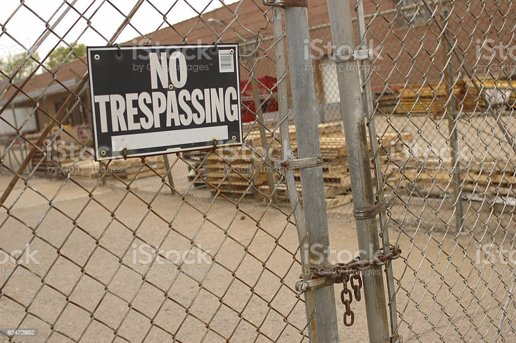 No Trespassing Gate stock photo