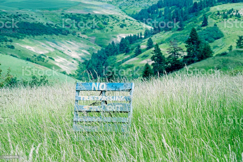 No trespassing in valley near Walla Walla WA stock photo