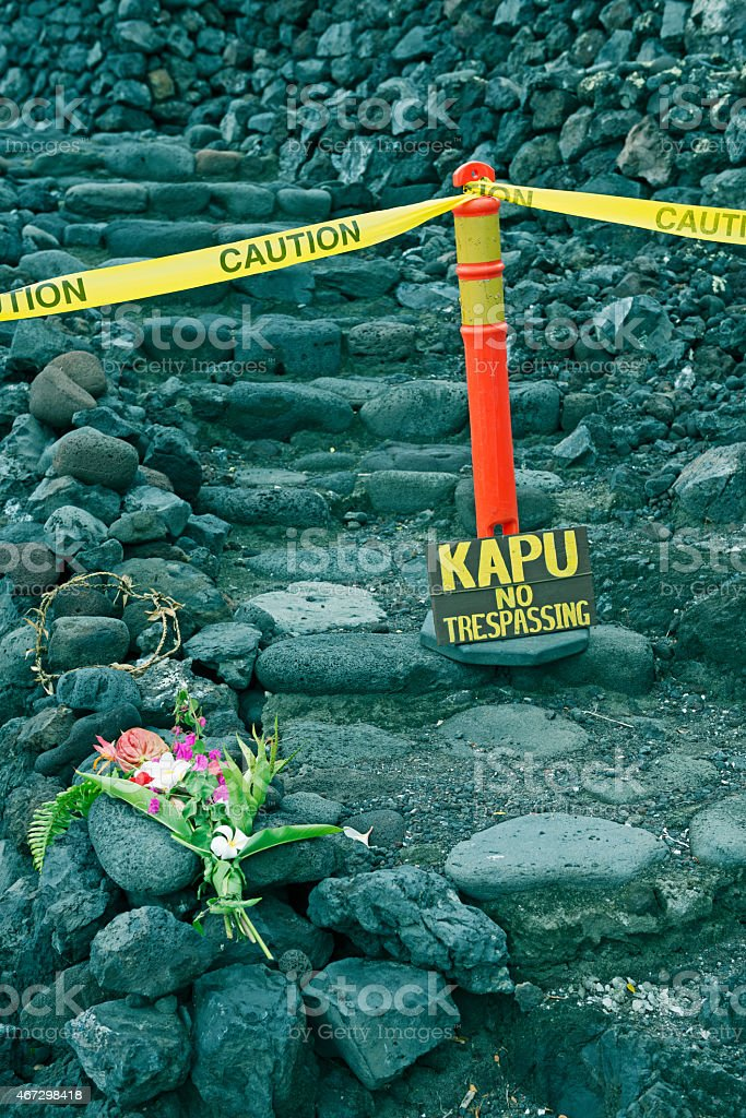 No trespassing on ancient Hawaiian temple stock photo