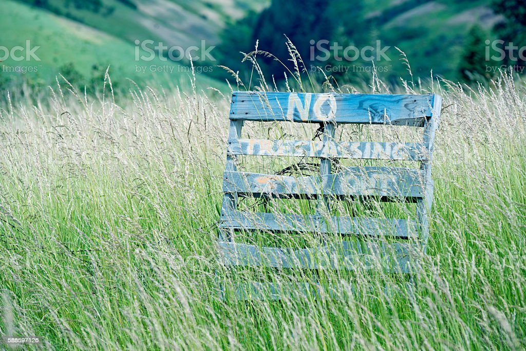 No trespassing on farmland near Walla Walla WA stock photo