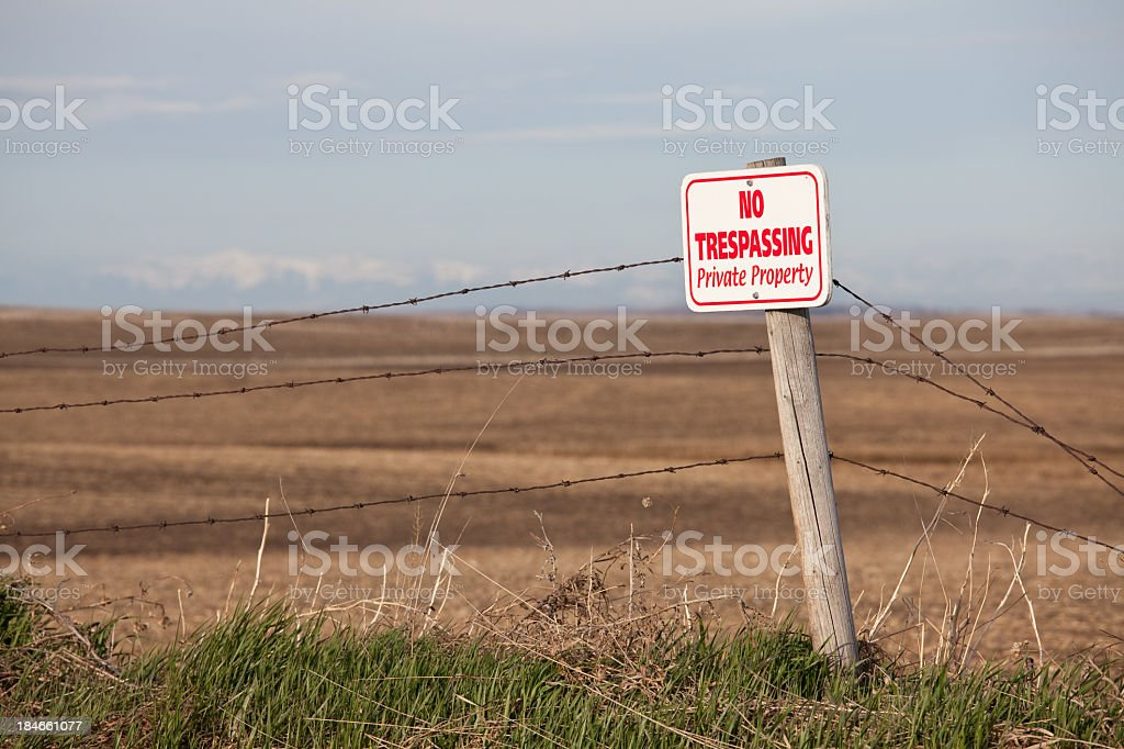 No Trespassing Private Property Sign in Rural Region stock photo