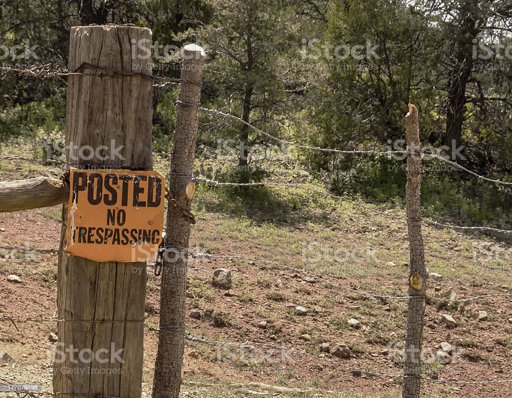 No Trespassing Sign in Rural Area stock photo