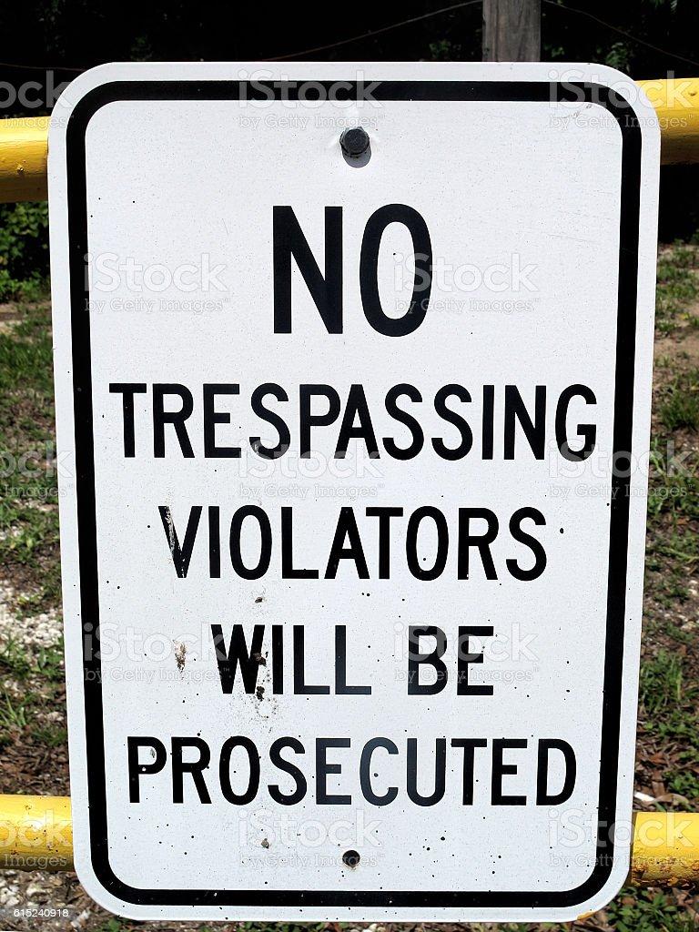 no trespassing sign stock photo