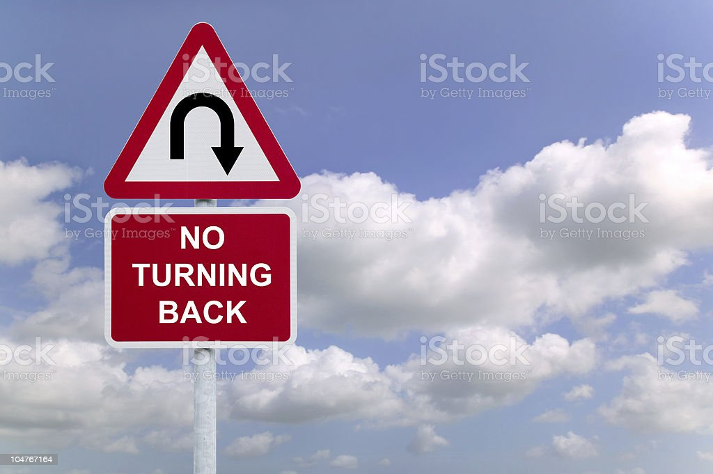 No Turning Back sign in the sky royalty-free stock photo