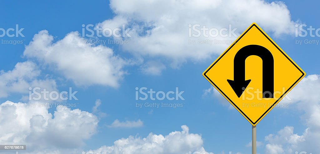 No U trun road sign stock photo
