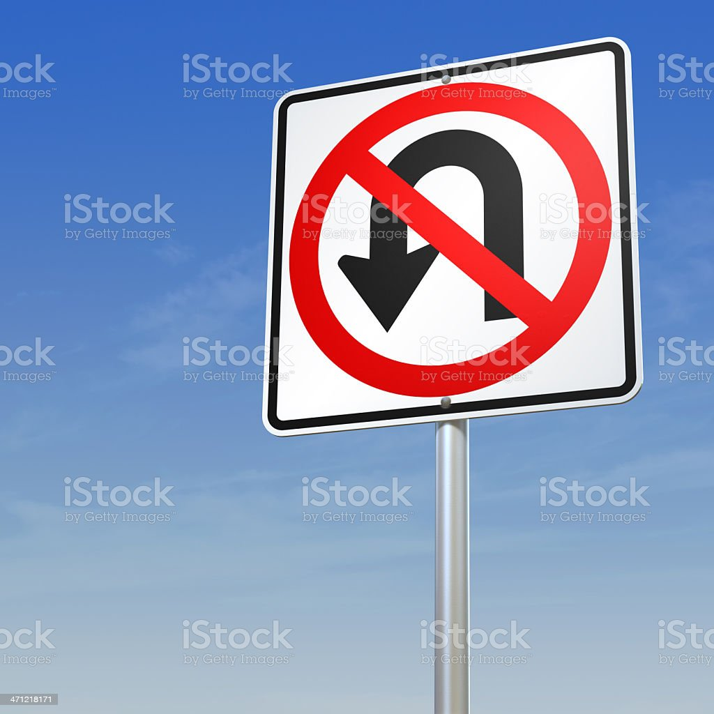No U Turn road sign stock photo