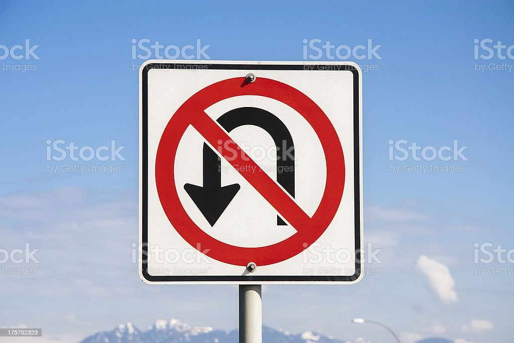 No U Turn sign stock photo