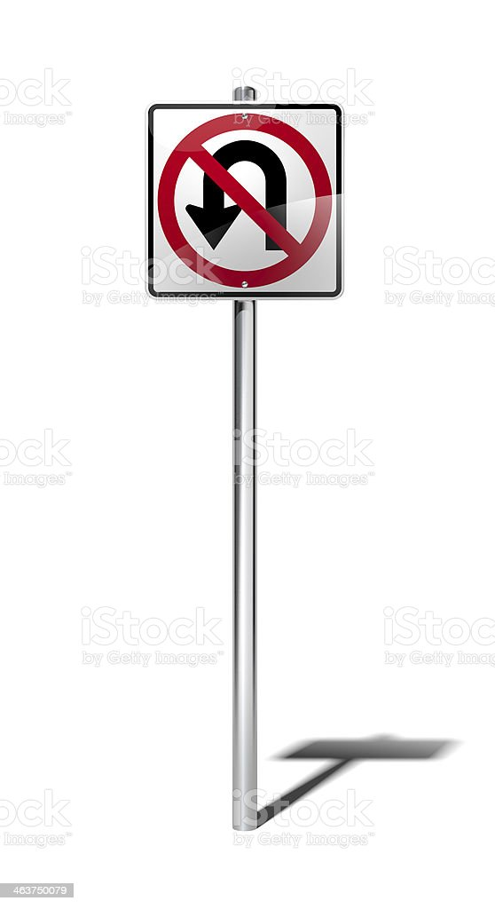 No U turn sign (USA) with clipping path stock photo