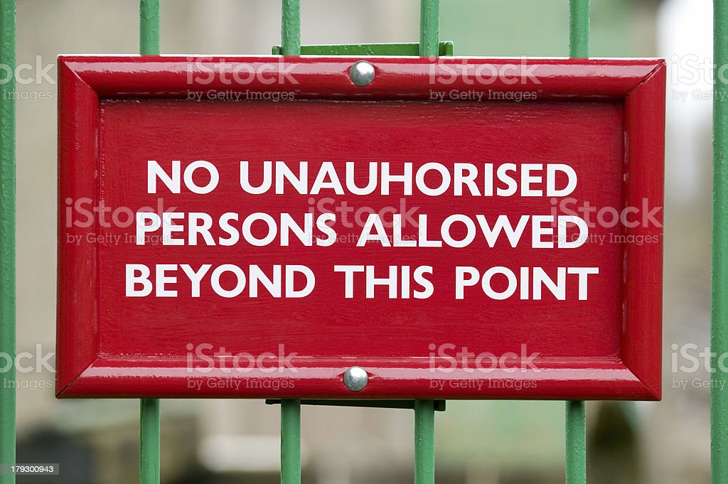 No unauthorised persons royalty-free stock photo