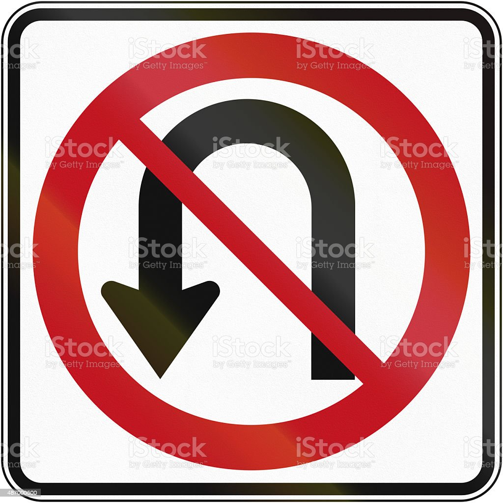 No U-Turn in Canada stock photo
