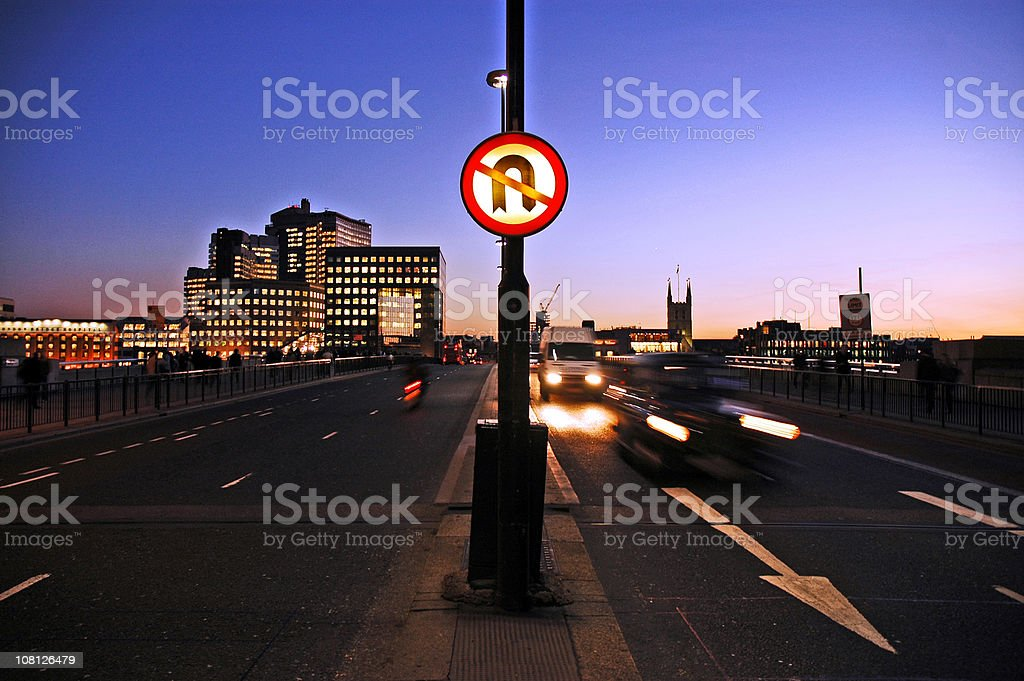 No U-turn on london bridge at dusk stock photo