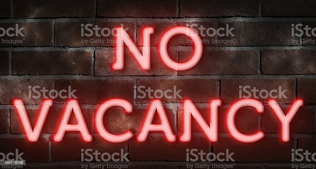 No vacancy neon sign stock photo